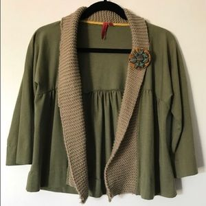 One September by Anthropologie Olive Cardigan